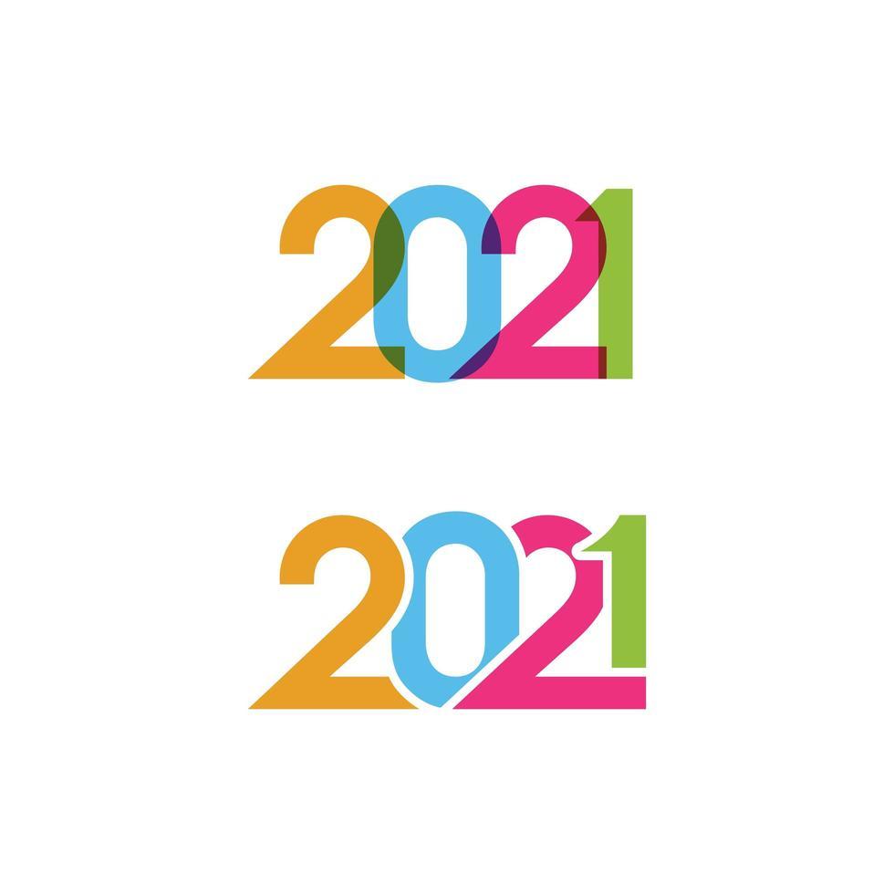 Icônes du nouvel an 2021 vecteur