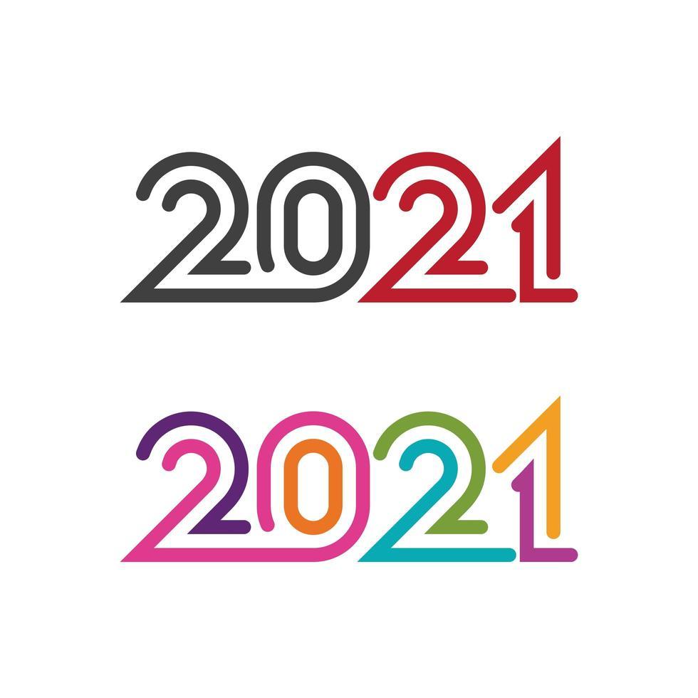 Icône du nouvel an 2021 vecteur
