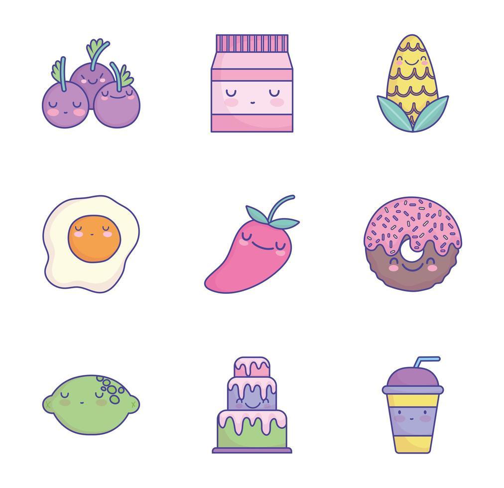 jeu d'icônes de nourriture dessin animé mignon vecteur