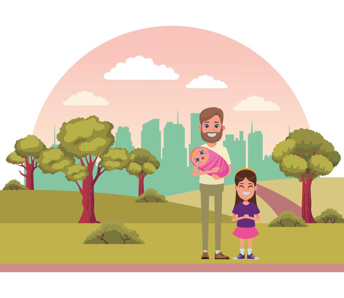 père, fille et bébé à l'extérieur ensemble vecteur