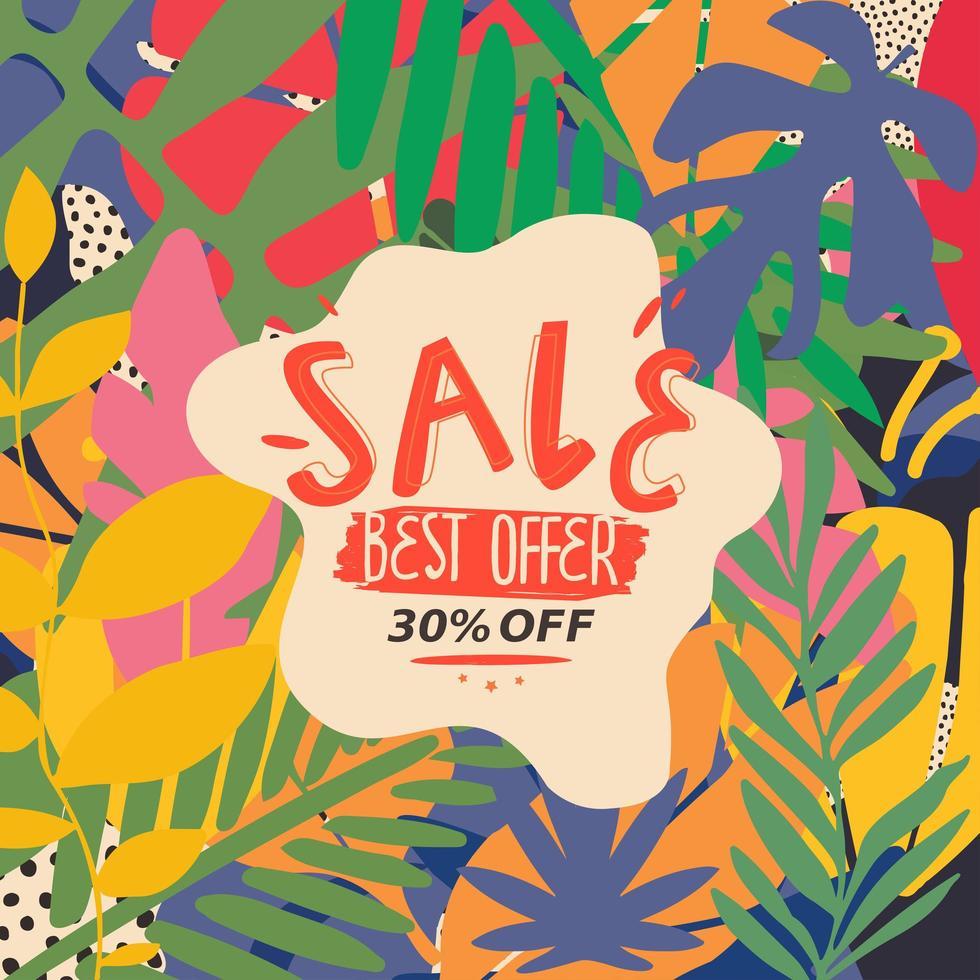 bannière de site Web de vente de feuilles colorées vecteur