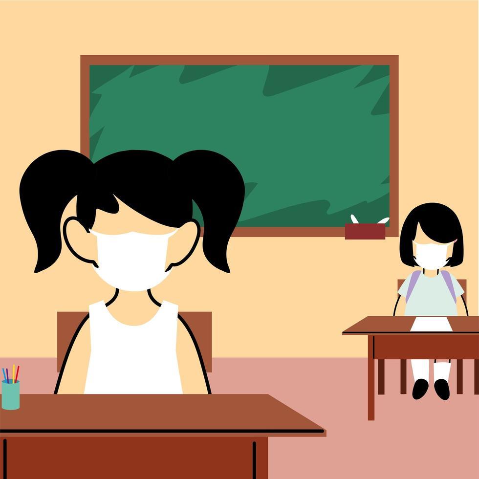 enfants étudiants portant un masque facial en classe vecteur