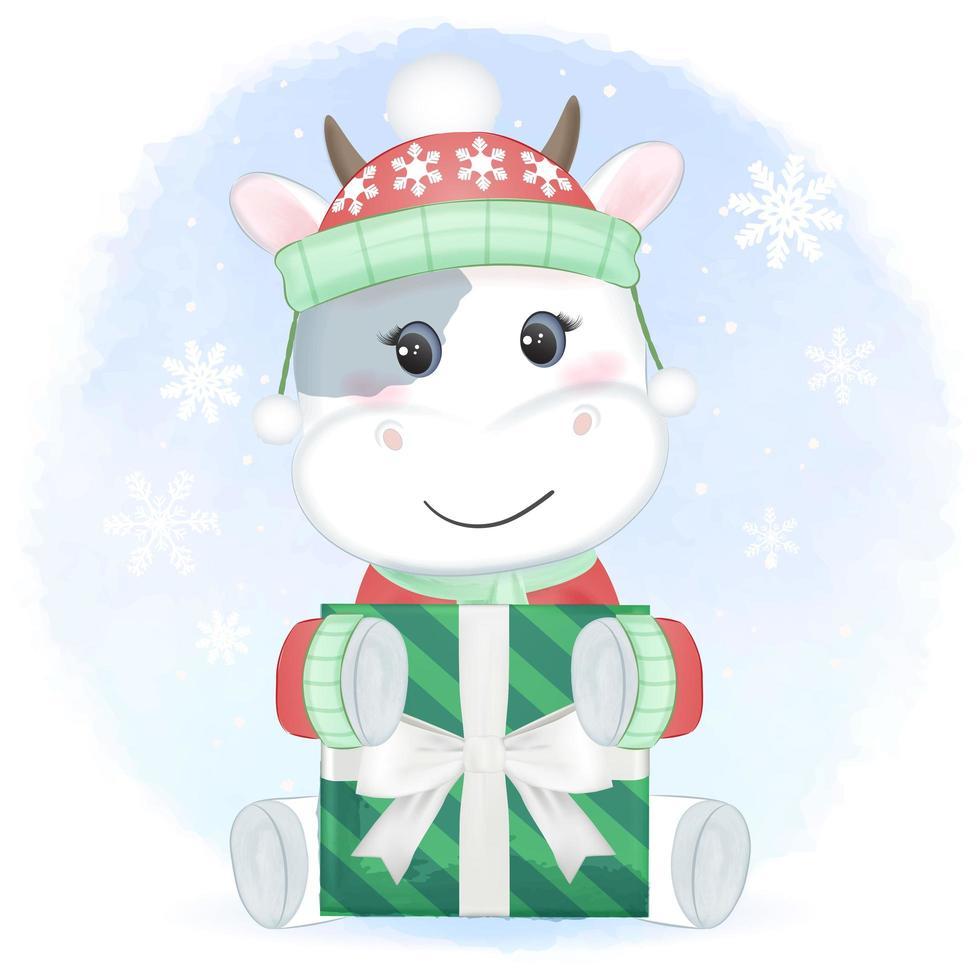 vache avec boîte-cadeau en hiver vecteur