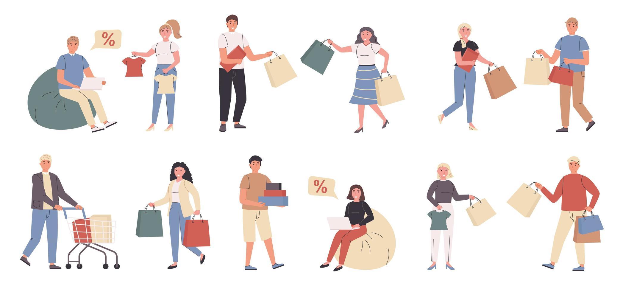 acheteurs, clients masculins et féminins jeu de caractères plat vecteur