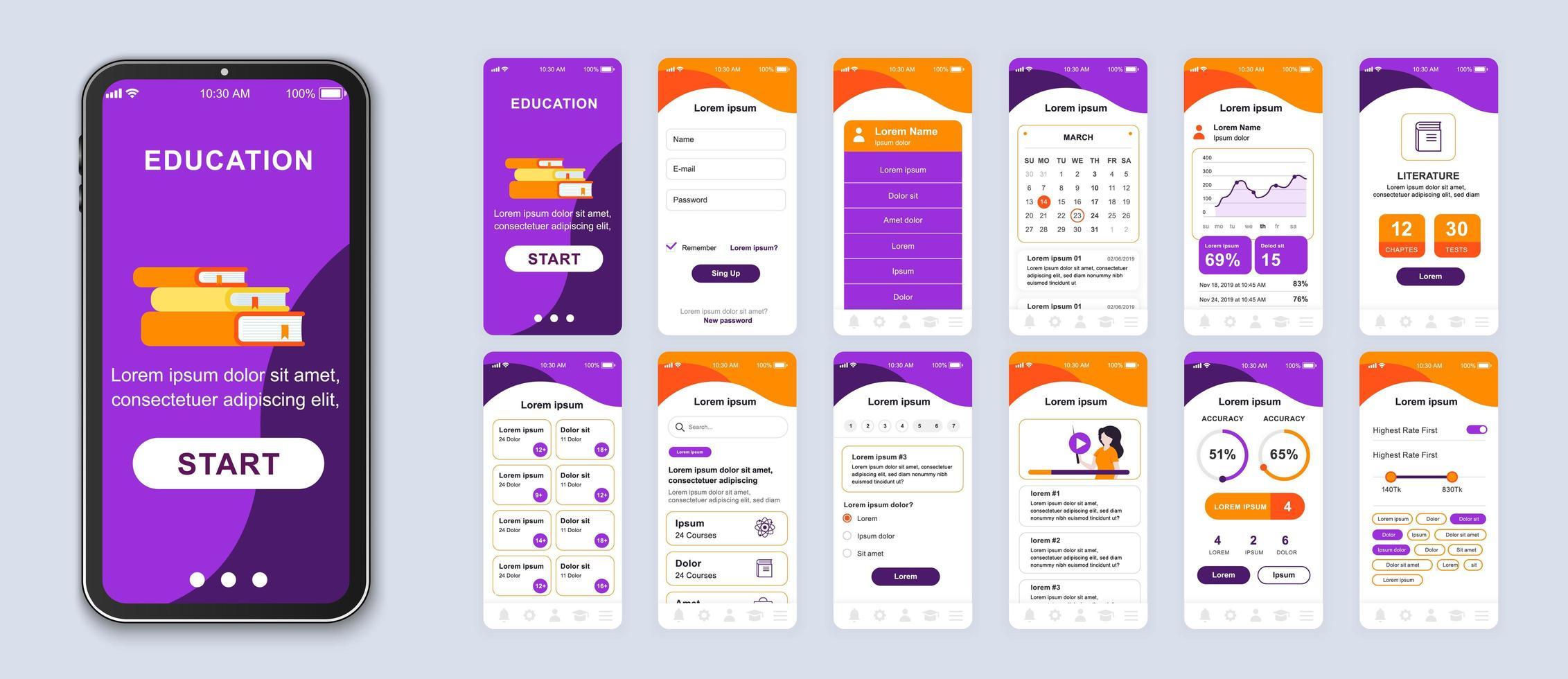 interface de smartphone application mobile ui éducation violet et orange vecteur