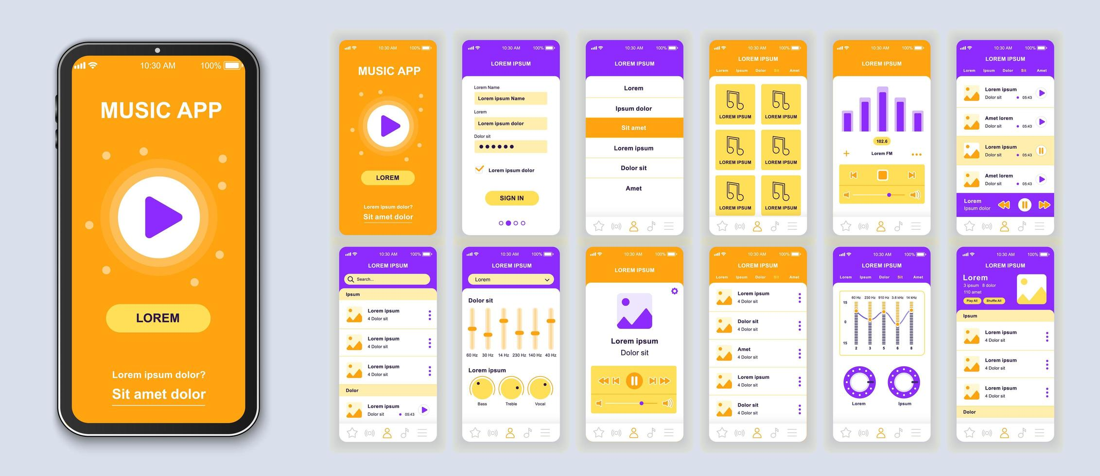 conception d'interface d'application mobile ui musique orange et violette vecteur