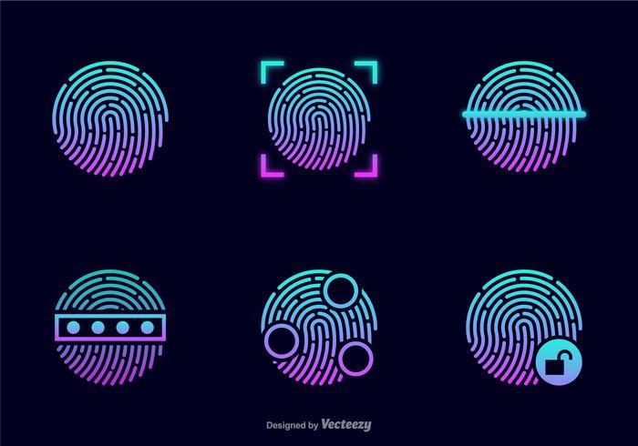 Vol Glowing empreintes digitales vecteur icônes