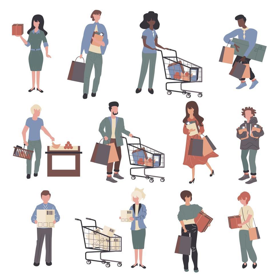 acheteurs, jeu de personnages de dessins animés accros du shopping vecteur