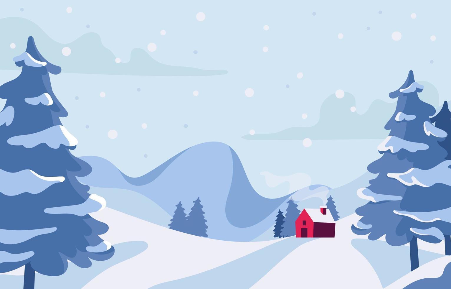 beau paysage d'hiver avec maison rouge vecteur