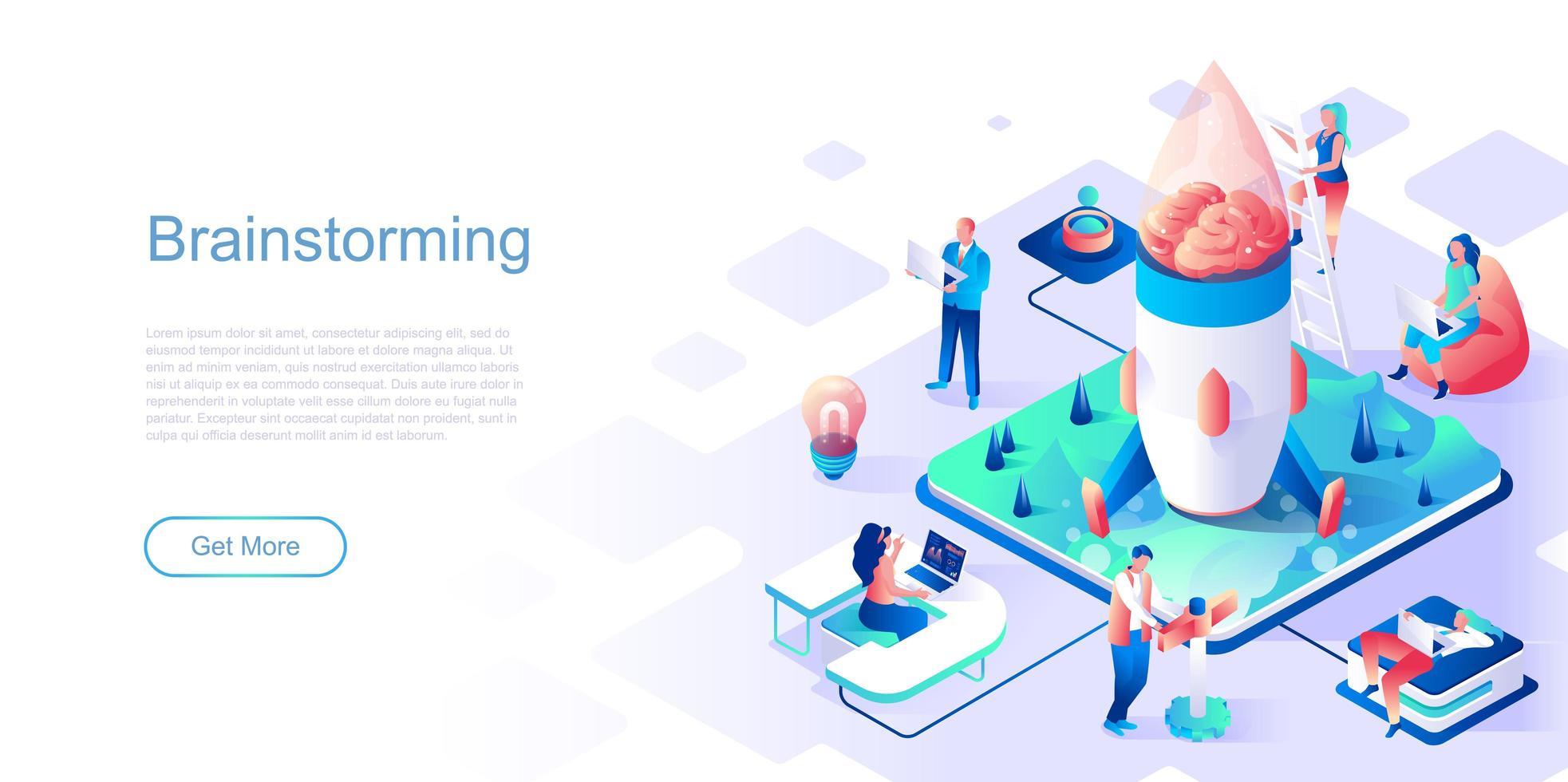modèle de page de destination de brainstorming vecteur