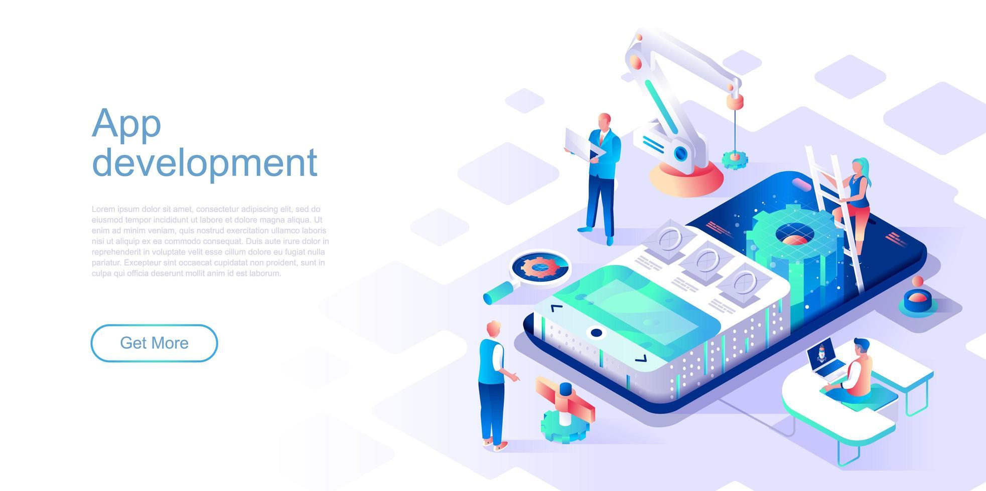 modèle de page de destination de développement d'application vecteur