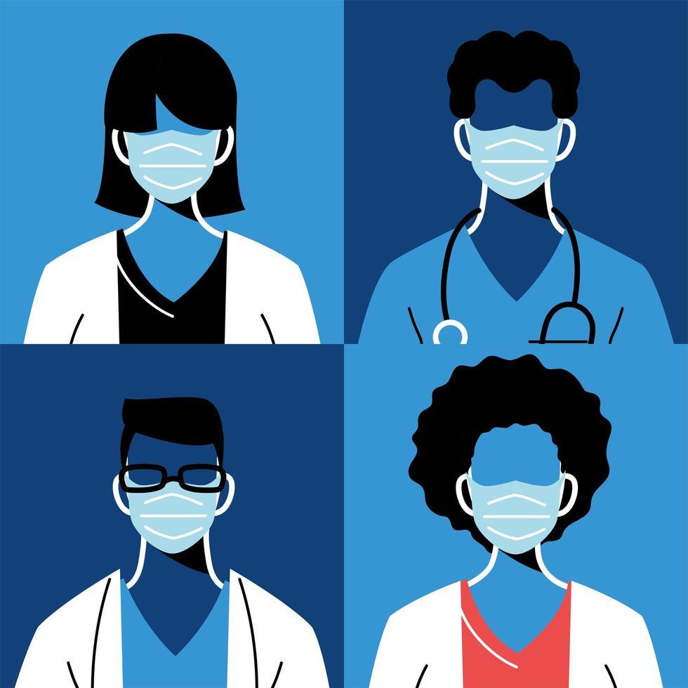 médecins féminins et masculins avec des masques et des uniformes vecteur