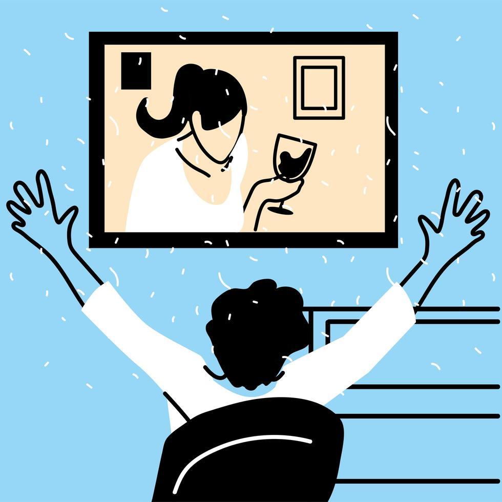 homme et femme sur écran dans le chat vidéo vecteur