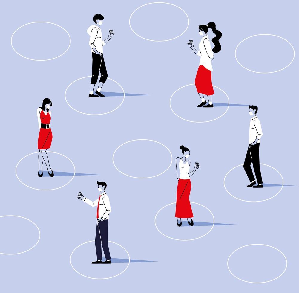 distance sociale entre les femmes et les hommes avec des masques vecteur