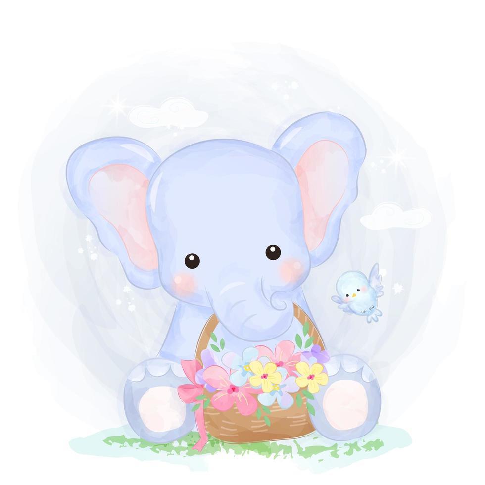 adorable bébé éléphant tenant un panier de fleurs vecteur