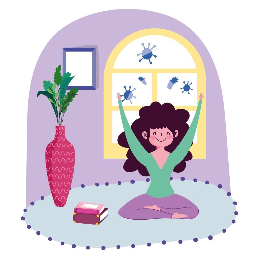 jeune femme pratiquant le yoga à l'intérieur protégé de covid-19 1409557 -  Telecharger Vectoriel Gratuit, Clipart Graphique, Vecteur Dessins et  Pictogramme Gratuit