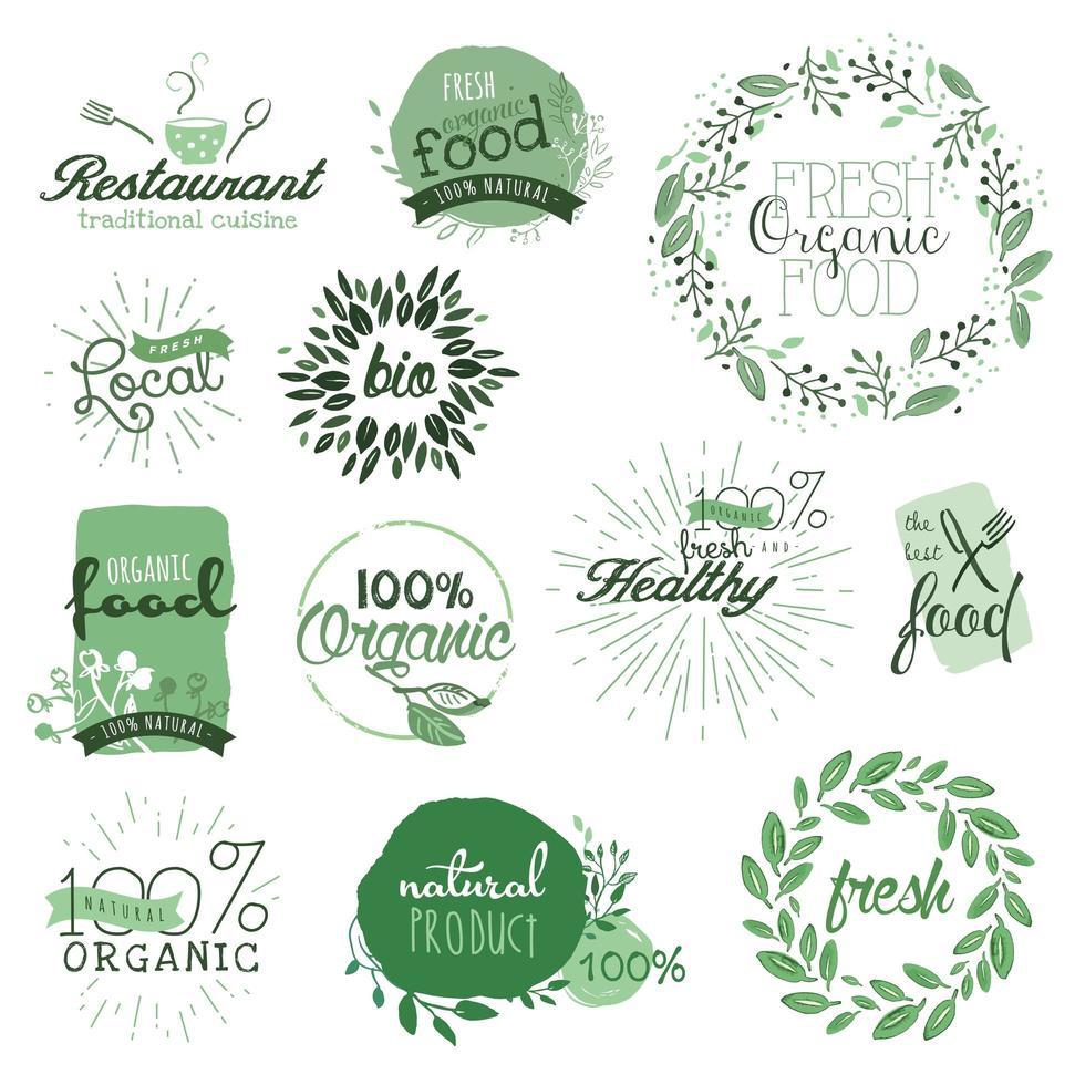 signes d'aliments biologiques vecteur