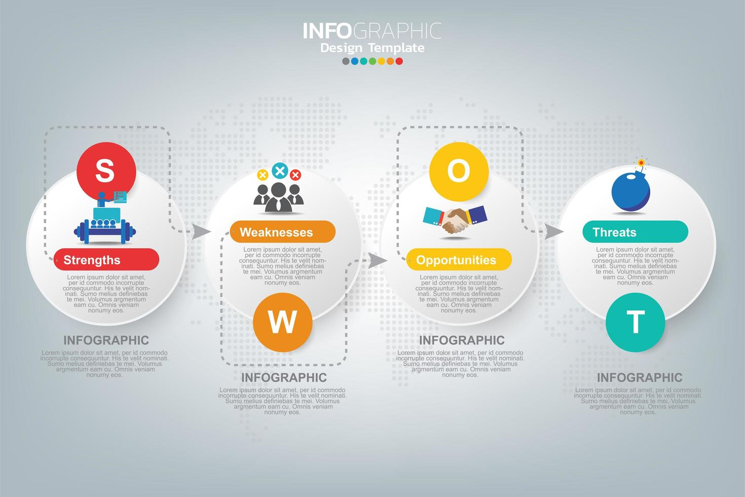 infographie entreprise analyse swot vecteur