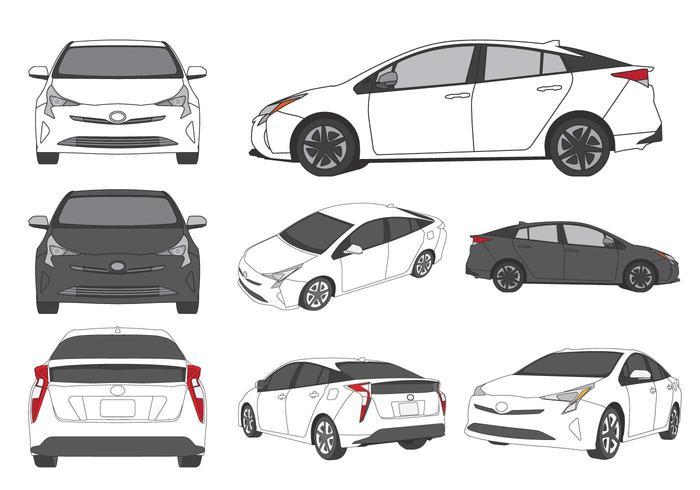Illustration Prius voiture vecteur