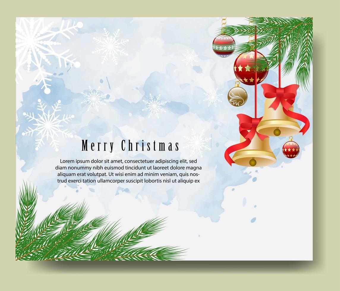 carte de voeux joyeux noël avec des branches et des cloches vecteur