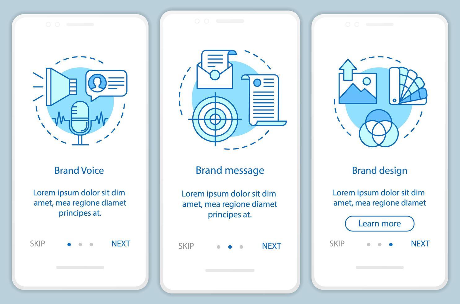 éléments de marque intégration des pages d'applications mobiles vecteur