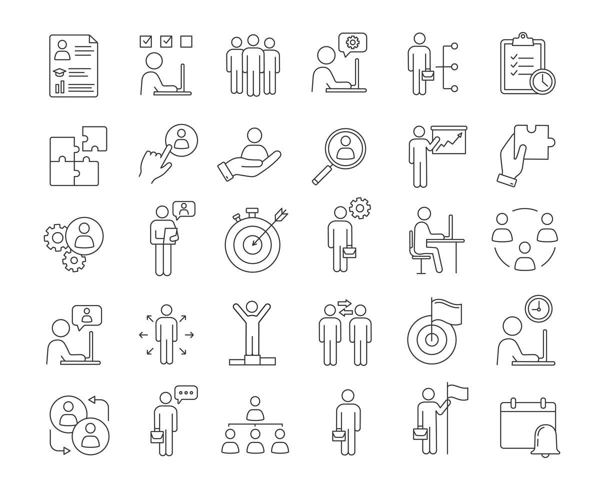 jeu d & # 39; icônes linéaires de gestion d & # 39; entreprise vecteur