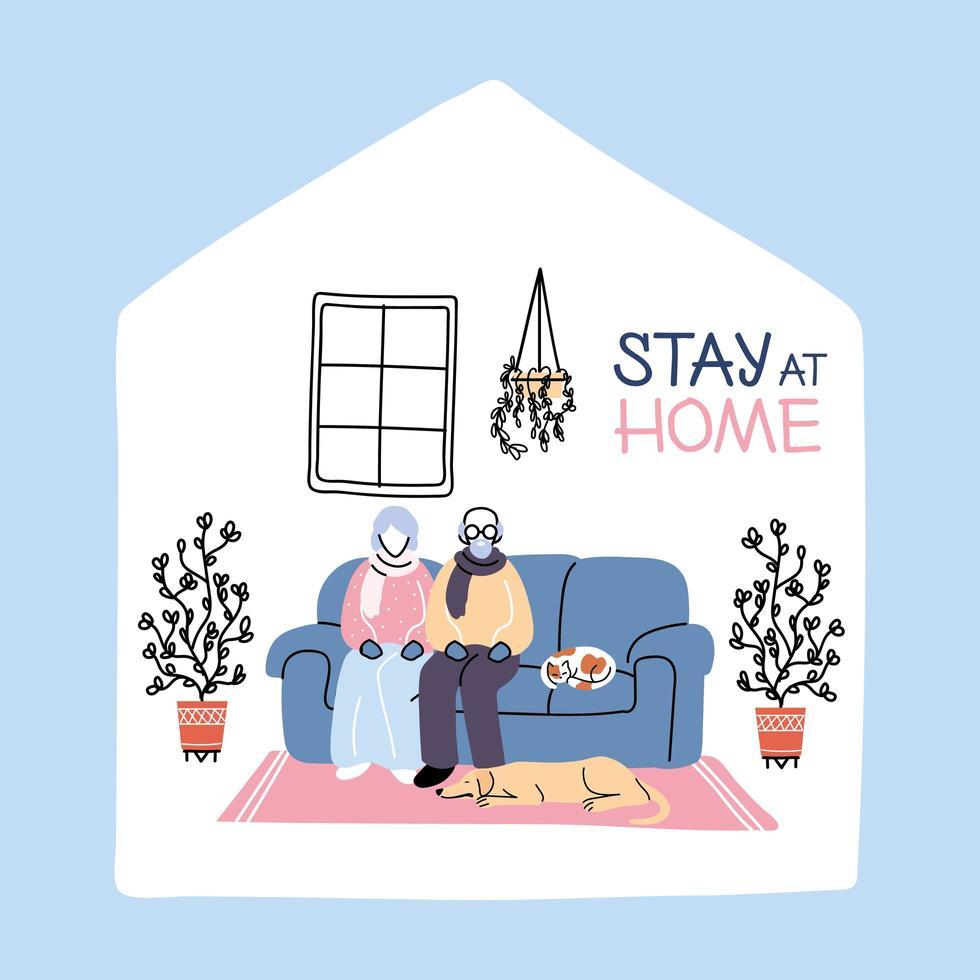 un vieux couple reste à la maison après la pandémie de coronavirus vecteur