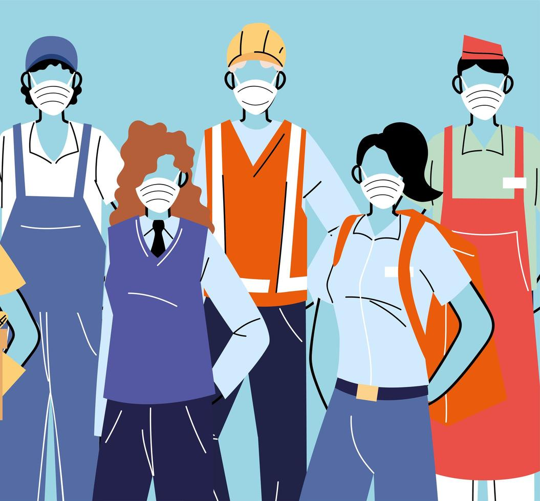 diverses professions avec des personnes portant des masques faciaux vecteur
