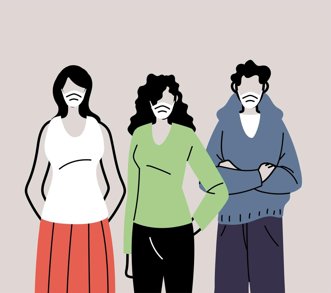 groupe de personnes dans des masques médicaux de protection vecteur