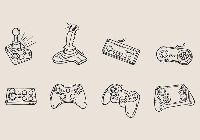 Main Arcade Game Dessiné Icône vecteur