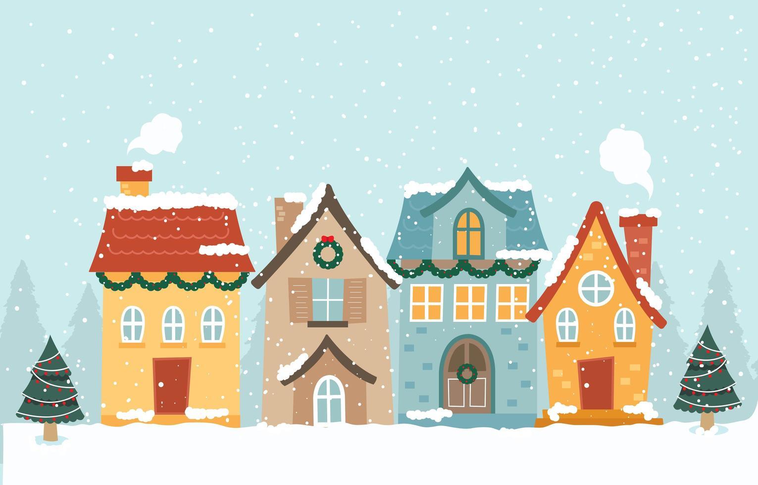 quatre maisons couvertes de neige pendant la saison d'hiver vecteur