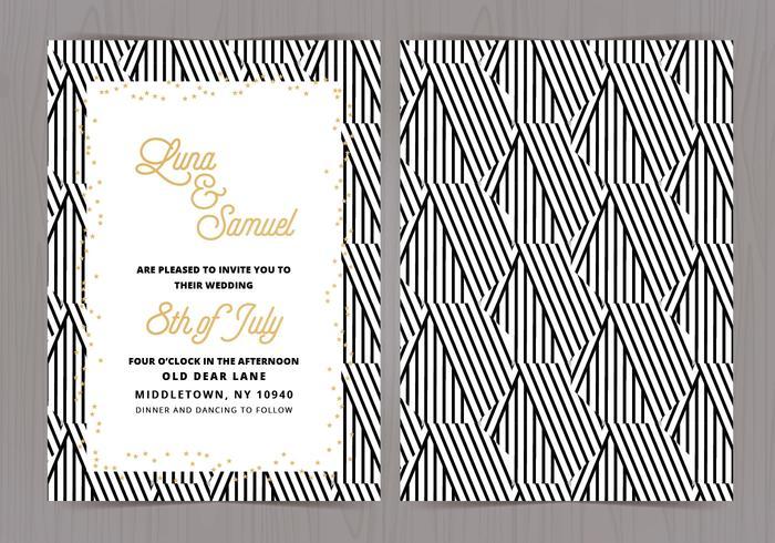 Vecteur noir et blanc de mariage Invitez