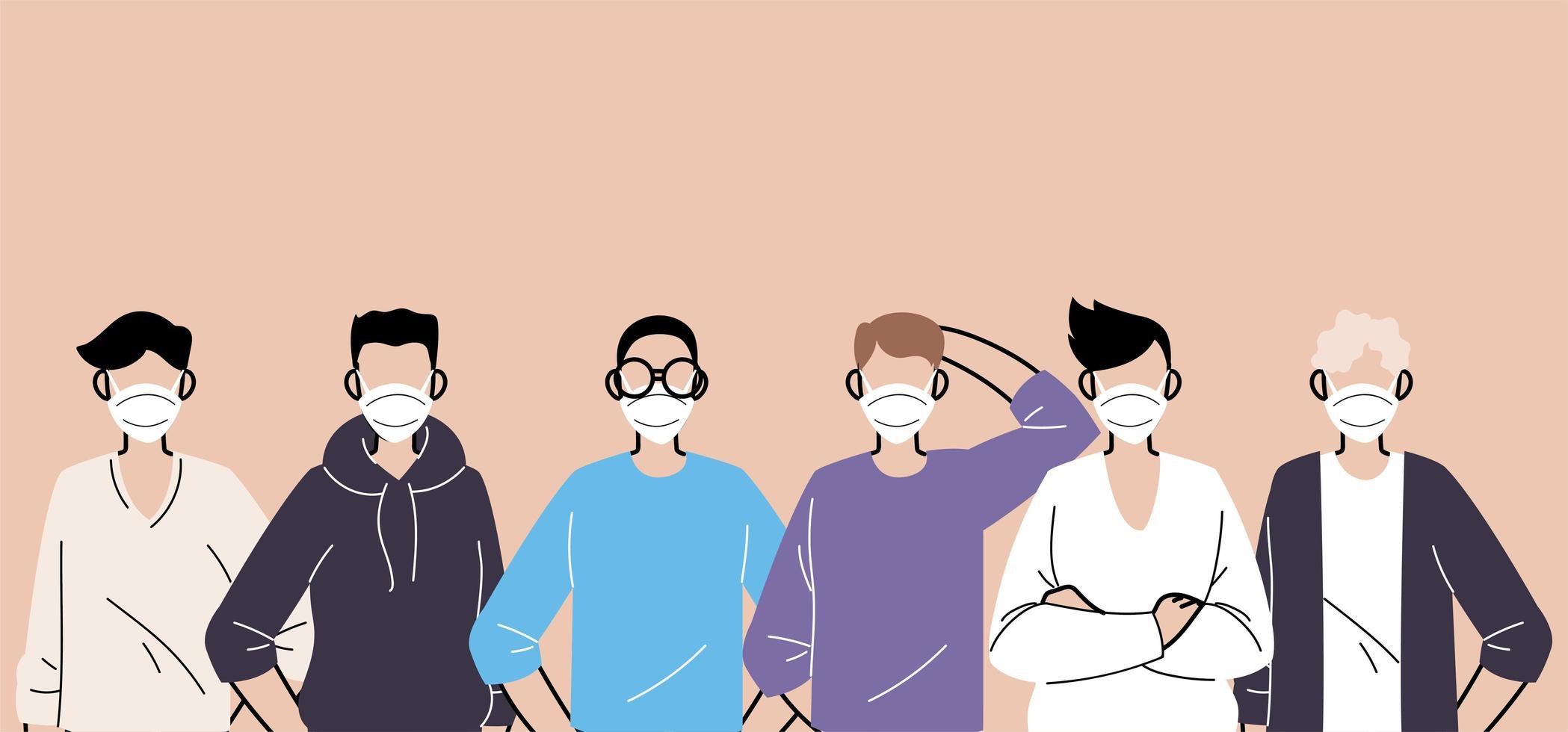 personnes portant des masques médicaux protecteurs vecteur
