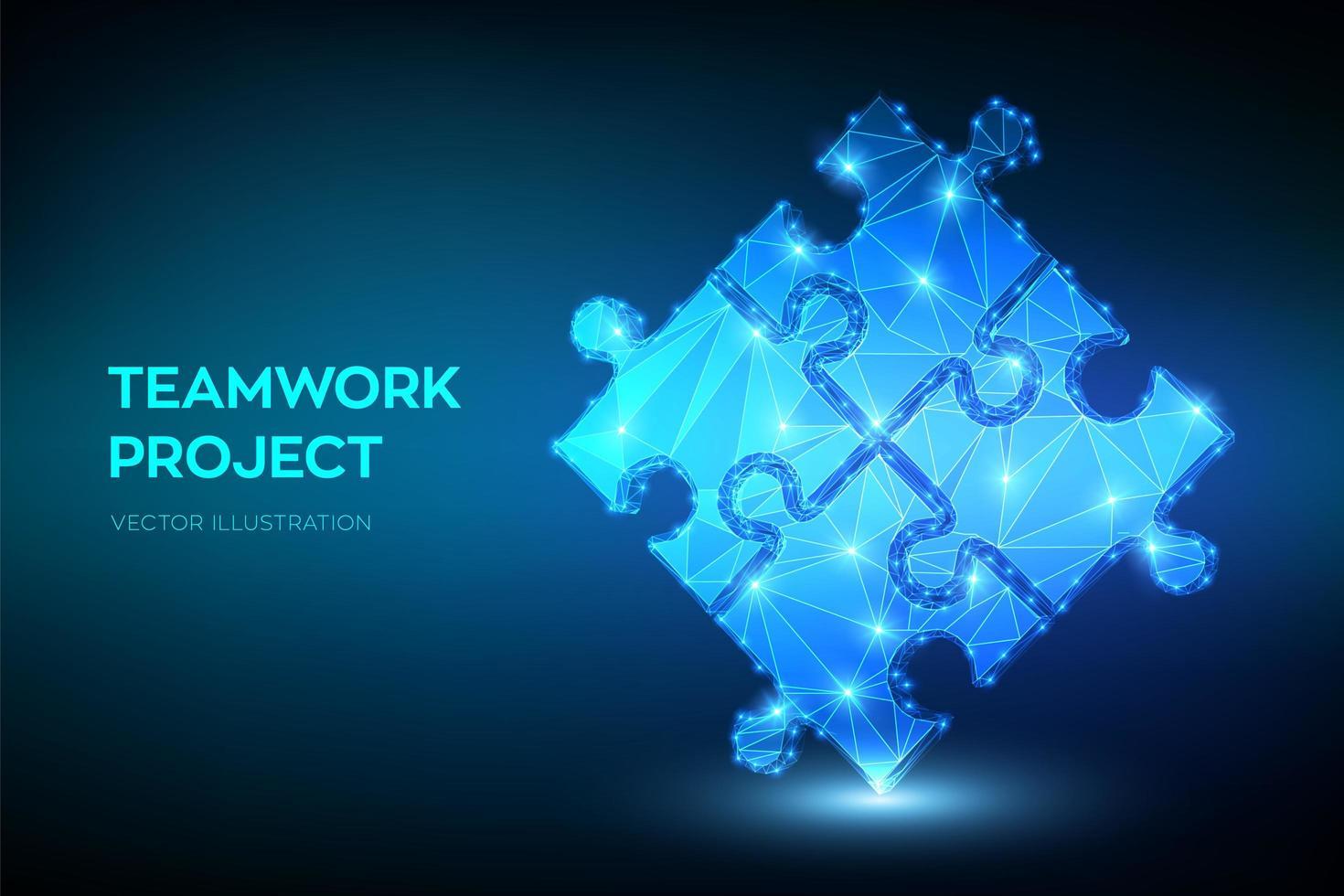 bannière futuriste de travail d'équipe avec des éléments de puzzle vecteur