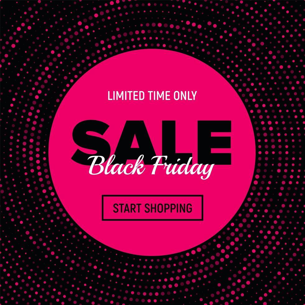 bannière de vente vendredi noir en pointillé rose vecteur