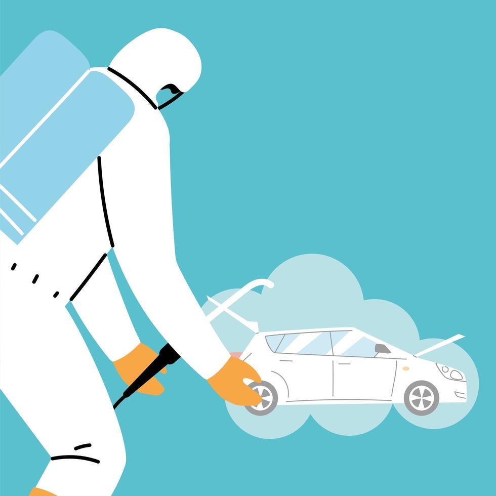 désinfection de la voiture de service par coronavirus ou covid 19 vecteur