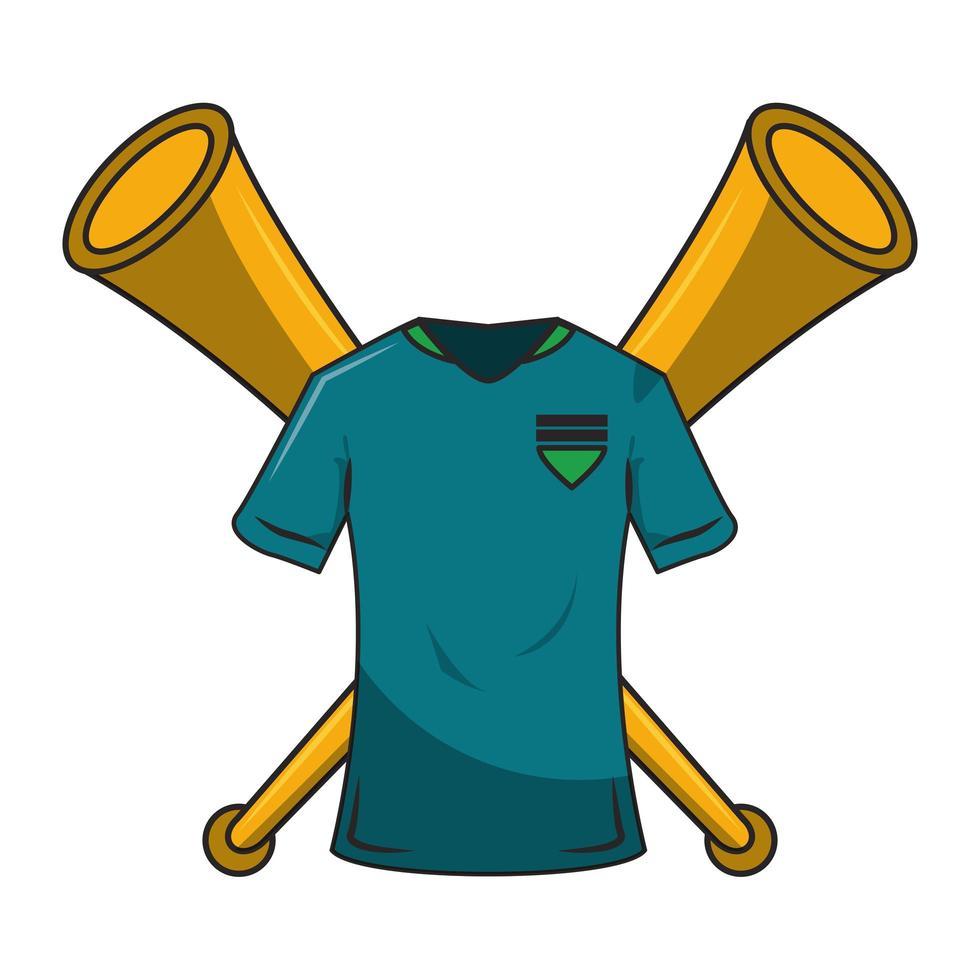 composition de chemise et de cornes de dessin animé de football vecteur