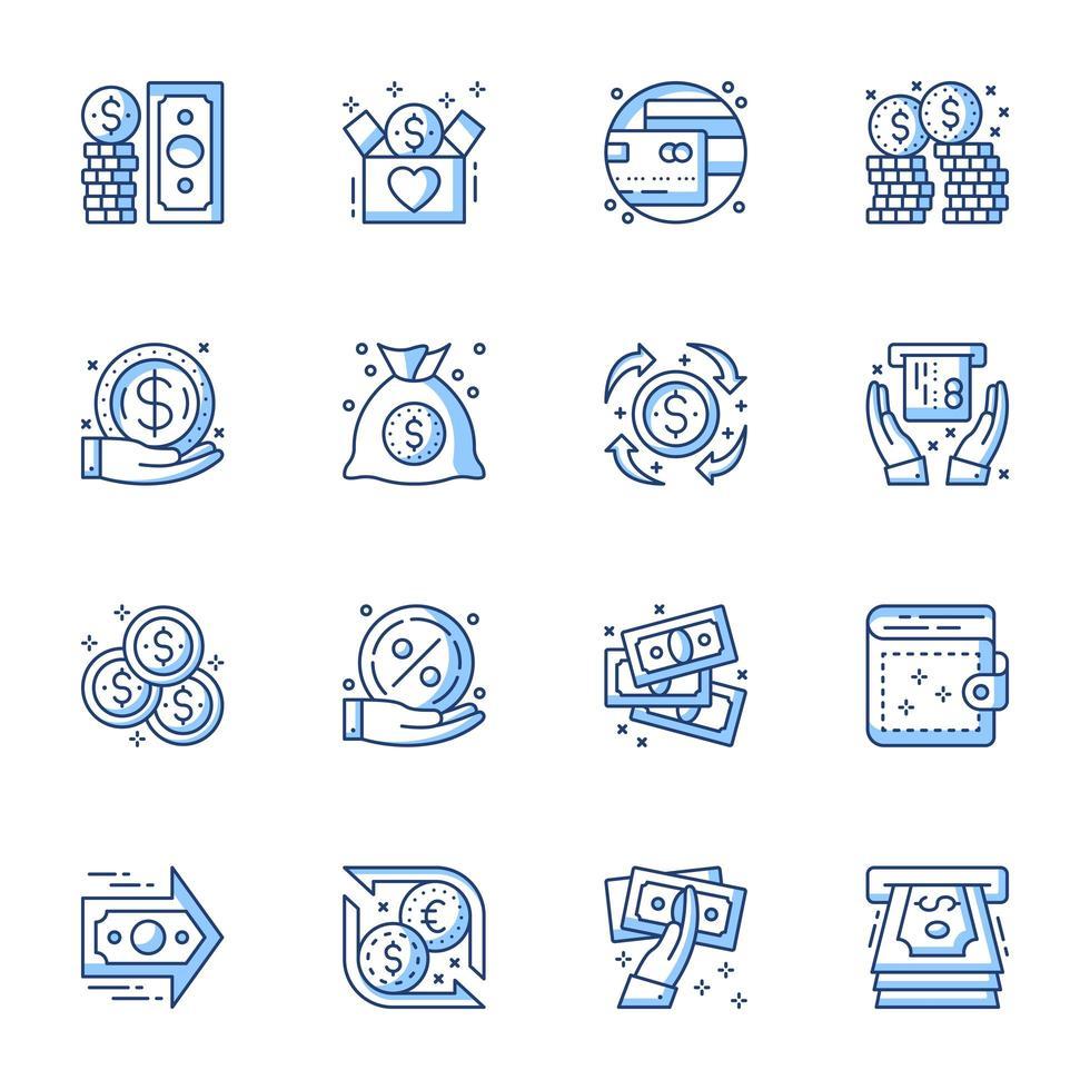 jeu d'icônes de dessin au trait finances et argent vecteur