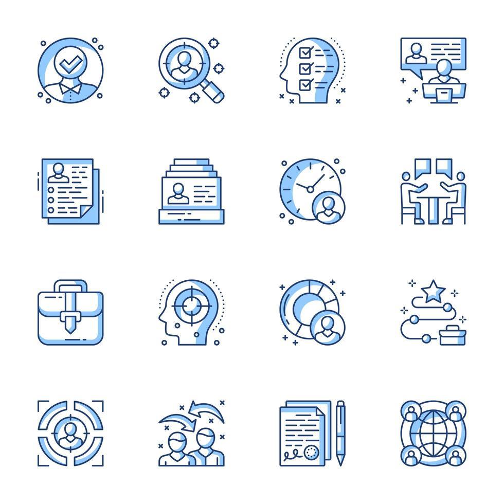 jeu d'icônes de recrutement ligne-art vecteur