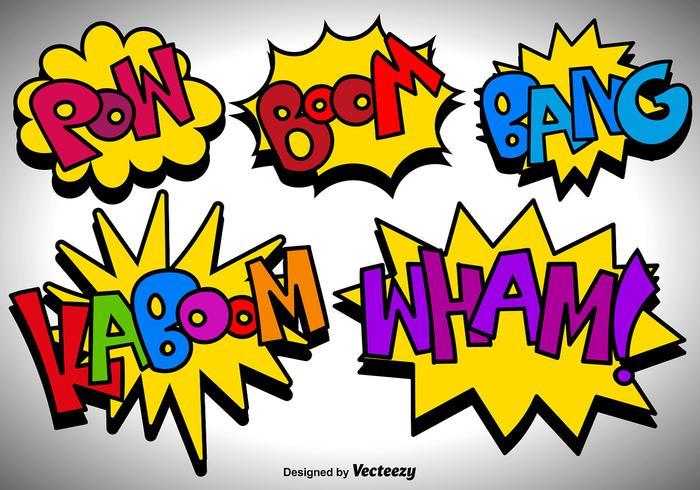 Icônes de bulles de discours de bande dessinée vectorielle vecteur