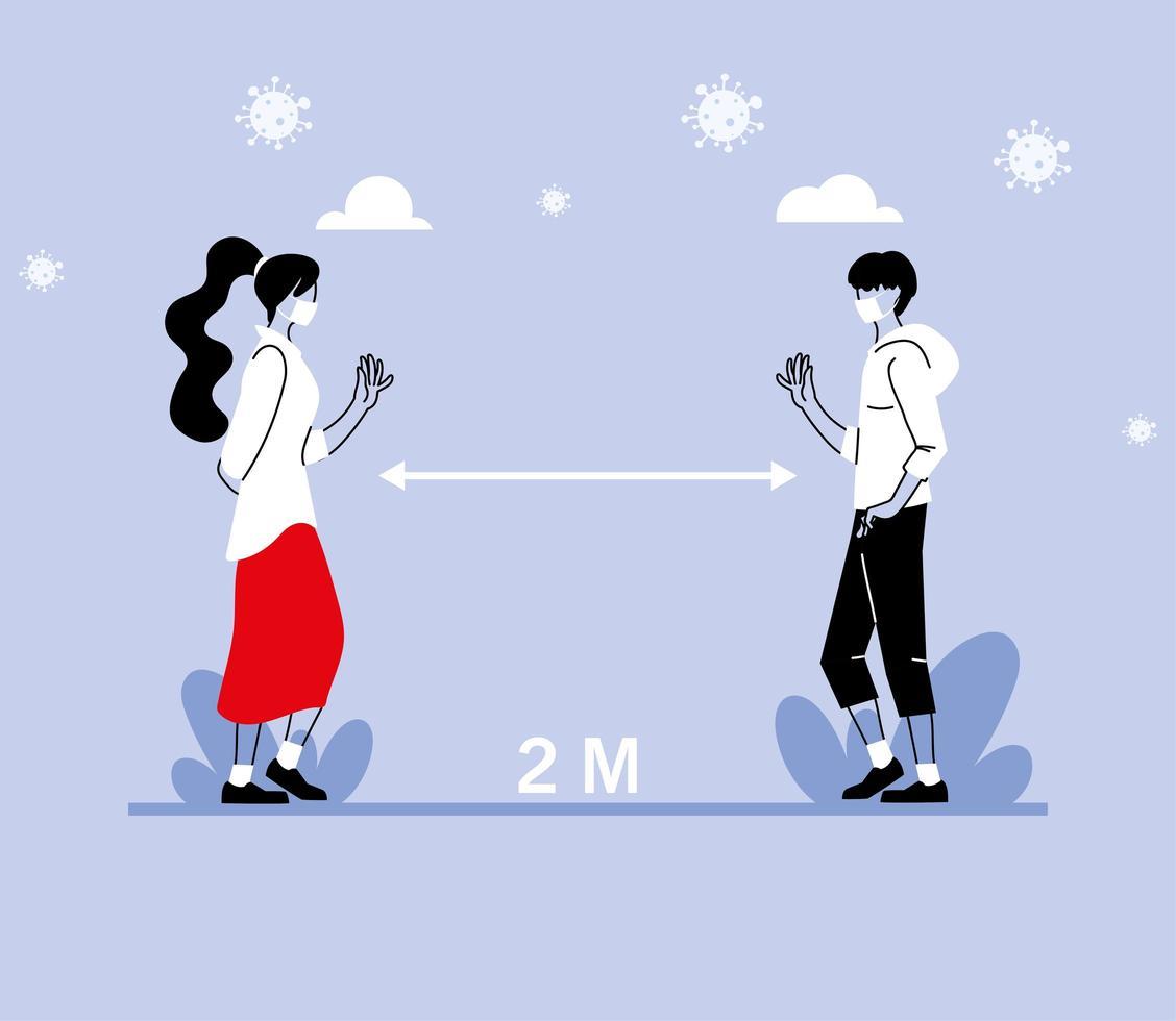 distance sociale entre femme et homme vecteur