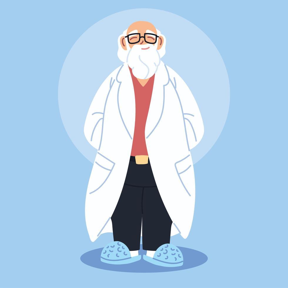 docteur, debout, à, robe médicale vecteur