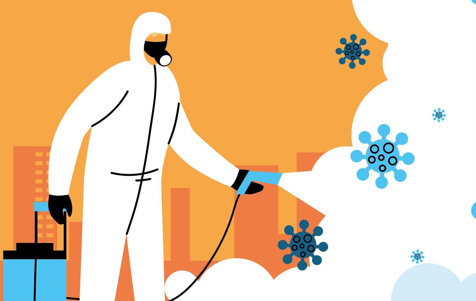 l'homme porte une combinaison de protection, désinfectant la ville vecteur