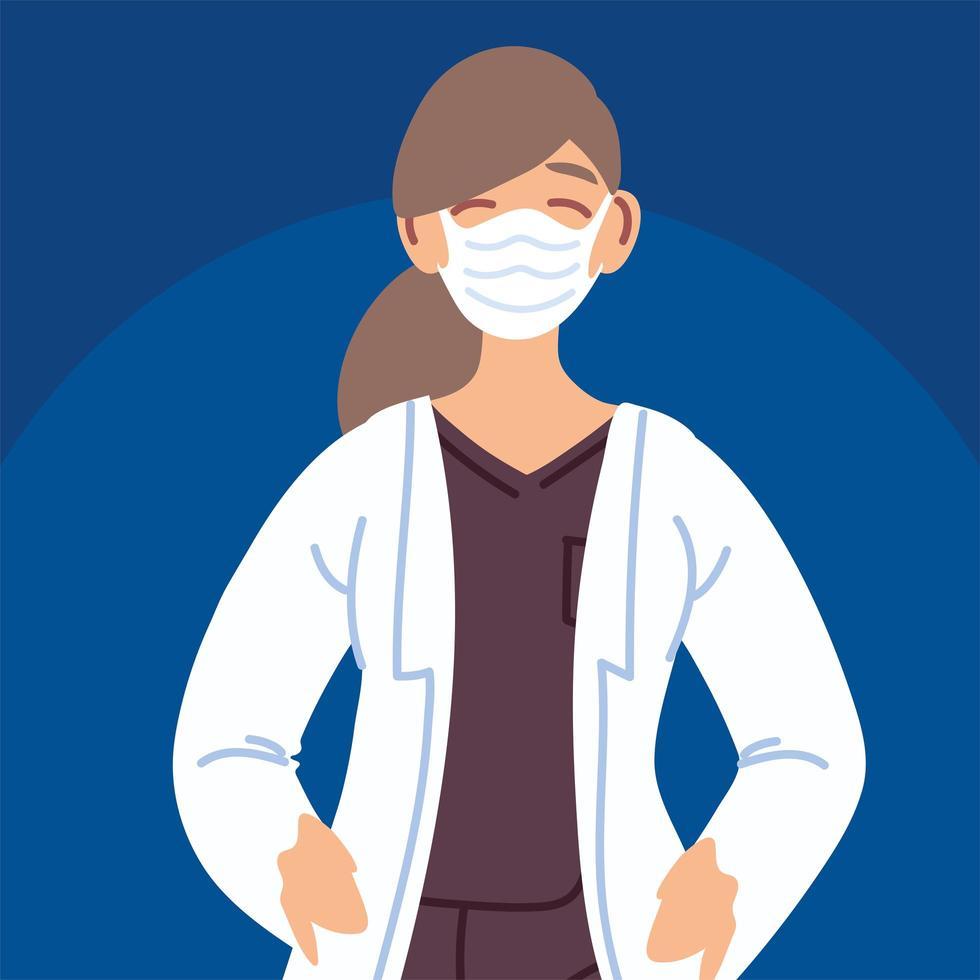 femme médecin avec masque facial vecteur