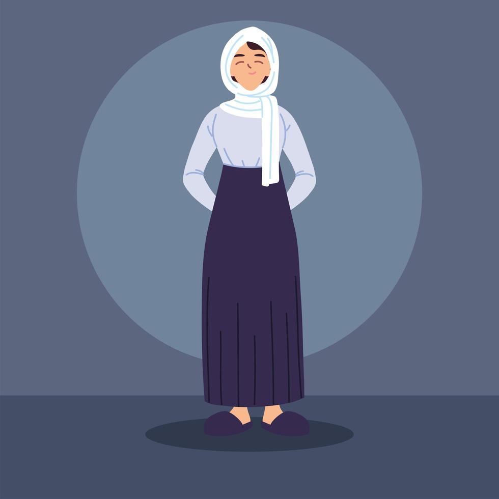 femme musulmane en costume traditionnel vecteur