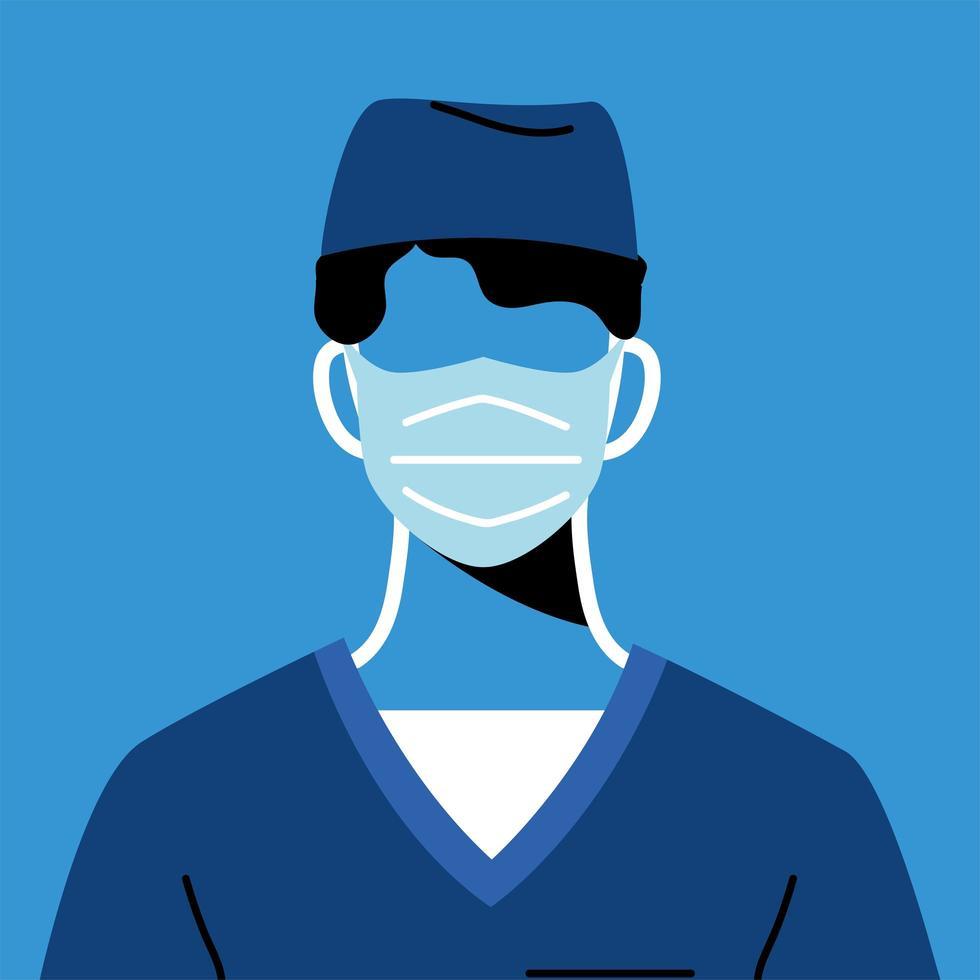 médecin de sexe masculin avec masque et uniforme vecteur