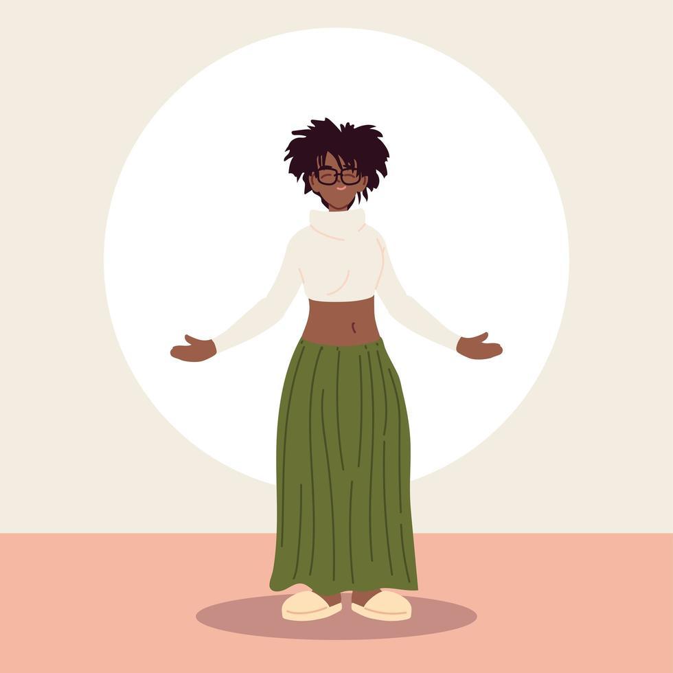 femme afro portant des vêtements décontractés vecteur