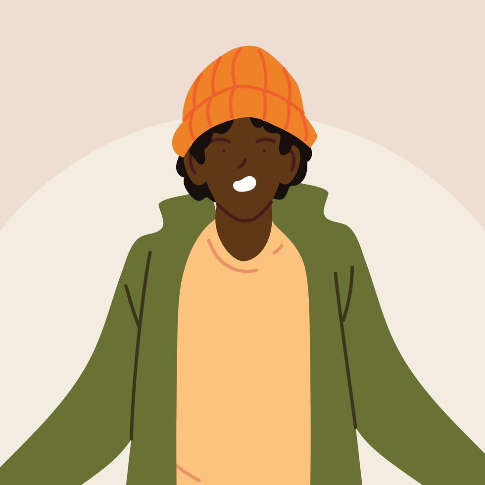 Portrait d'homme afro avec des vêtements décontractés vecteur