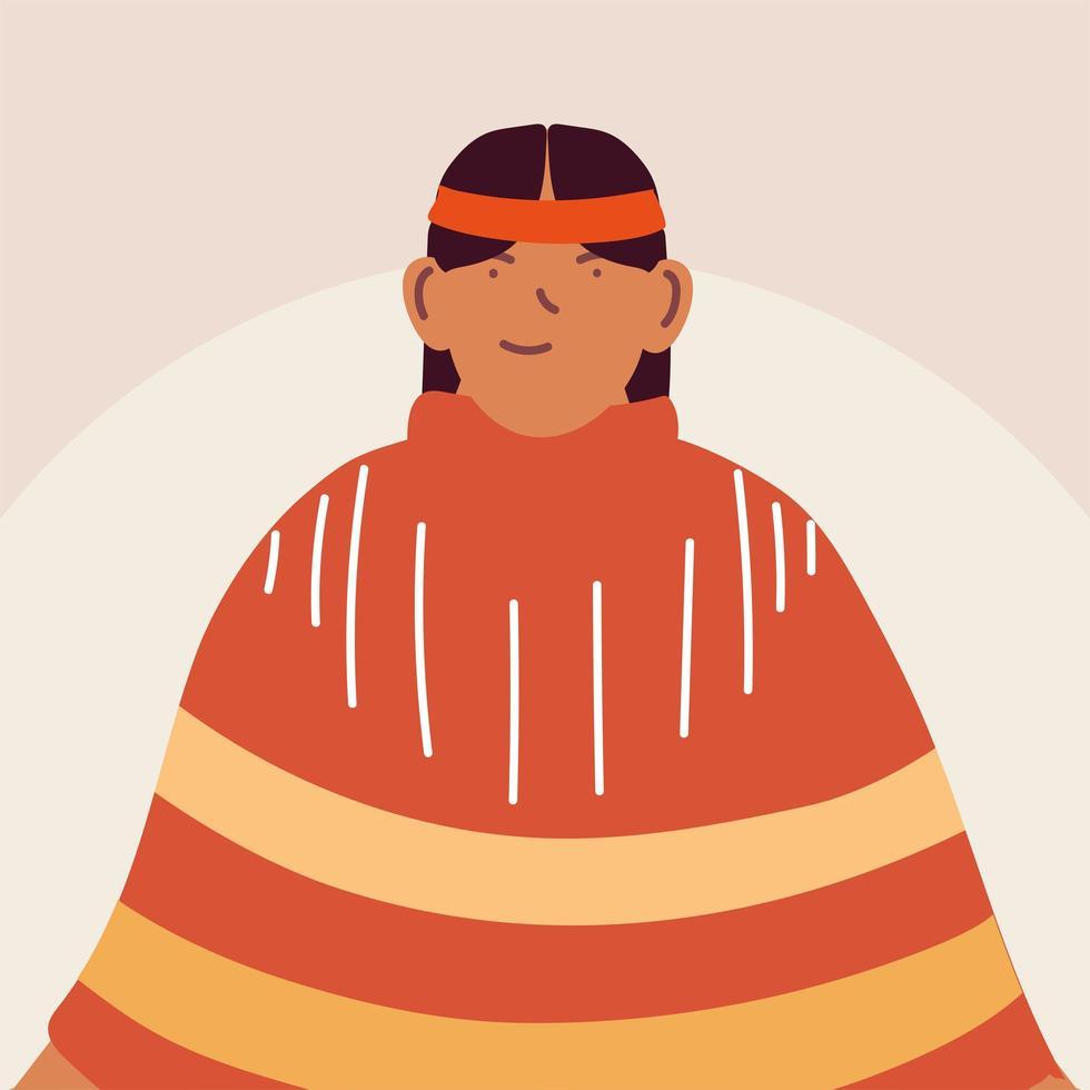 homme indigène debout en costume traditionnel vecteur