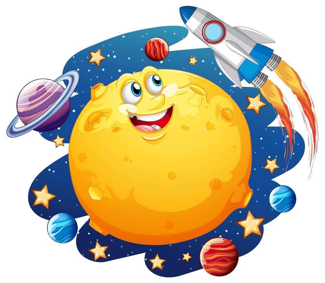 lune avec un visage heureux sur le thème de la galaxie spatiale vecteur